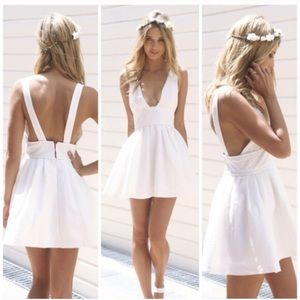 SABO Skirt white Deep V open back dress NWT
